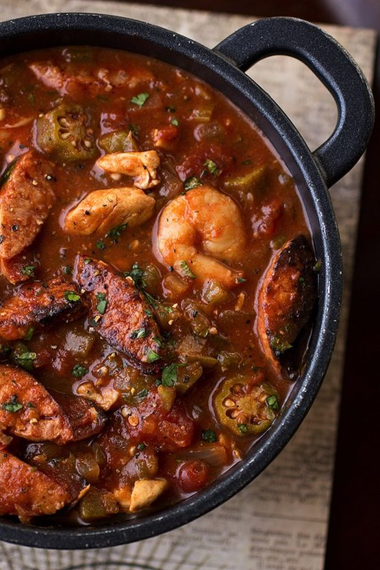 """Gumbo-laya"" Stew with Spicy Sausage, Chicken, with Okra over Fregrant Garlic Rice  Can't wait to try this recipe! It's low carb too (minus the rice)"