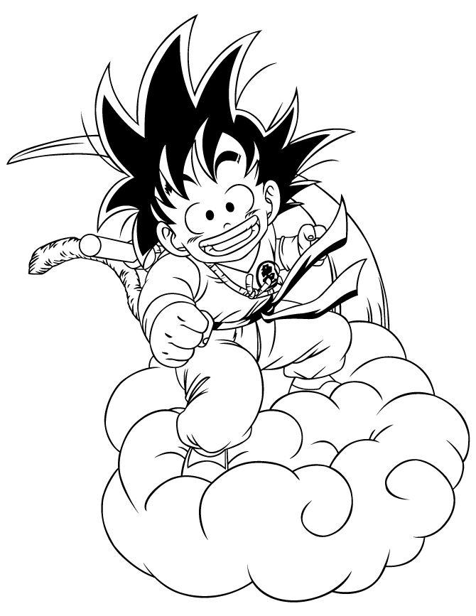 It is a photo of Dynamite Goku On Nimbus Drawing