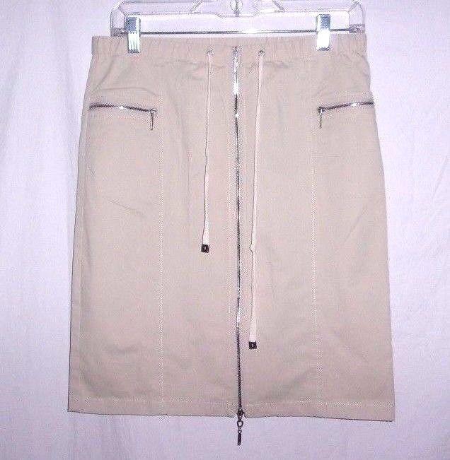 Doncaster Khaki Women's zipper Heaven Pencil Drawstring Waist Skirt 4 #Doncaster #StraightPencil