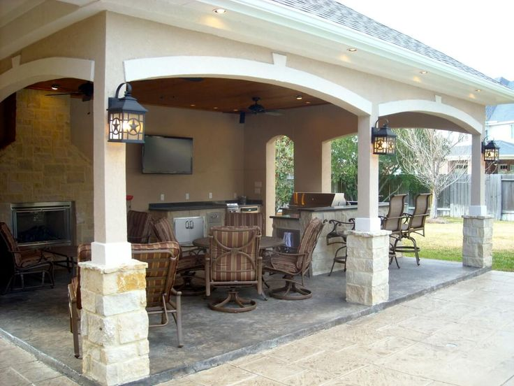 attached covered patio cabana with curtains | Pool House With Outdoor Kitchen & Fireplace In Cypress - Texas Custom ...