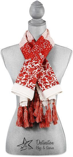 "Vanessa Floral Cotton Scarf - 40"" x 40"" Coral Scarf"