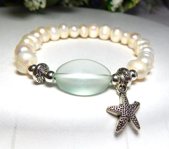 freshwater pearl bracelet with sea glass and a starfish charm