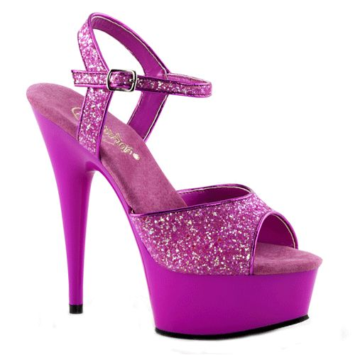 Glitter & Glamour themafeest: Neon paarse glitter sandalen Caydence. Paarse glitter sandalen met peep toe. Deze paarse sandalen hebben een verstelbaar enkelbandje en een hakhoogte van ongeveer 15 cm. Andere kleuren zijn ook verkrijgbaar in onze webshop.