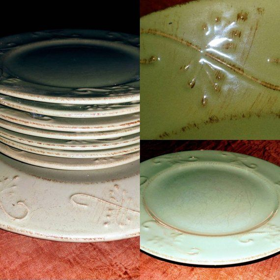 Pottery Green Plates from Mesa International Handcrafted