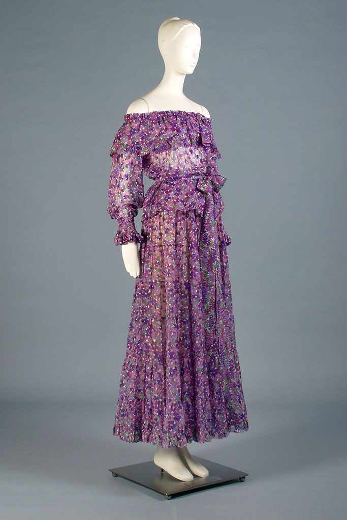 Dress of the Day: An Yves Saint Laurent silk chiffon evening ensemble printed with violets, ca., 1976. KSUM 1986.2.6.