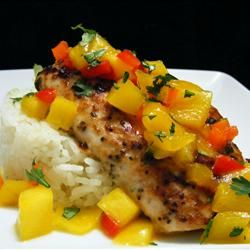 Mahi Mahi with Coconut Rice and Mango Salsa Allrecipes.com