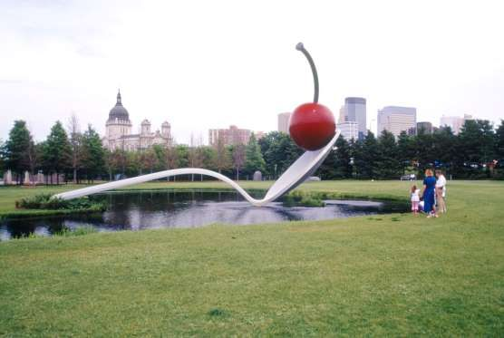 MINNEAPOLIS SCULPTURE GARDEN IN MINNEAPOLIS Claes Oldenburg's iconic, outsized Spoonbridge and Cherry sculpture really is that striking in person, whether the ground beneath it is covered with the whitest Minnesotan snow or the greenest grass.