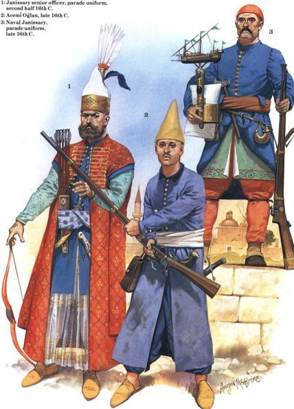 Turkey;Janissarys. Senior Janissary Officer, Parade Dress, Acemi Oglan & Naval Janissary, Parade Dress. all late 1500s