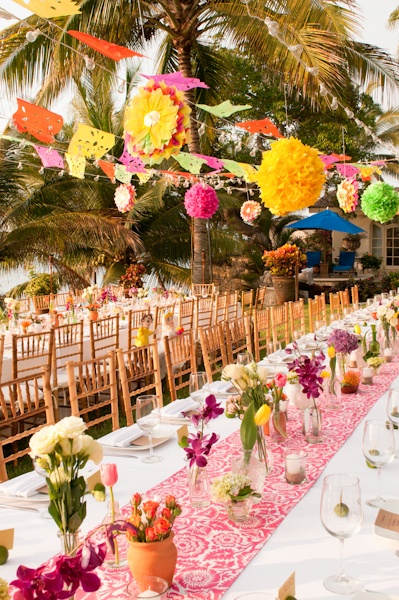 Festive, colorful, family style wedding table. By Marweddings