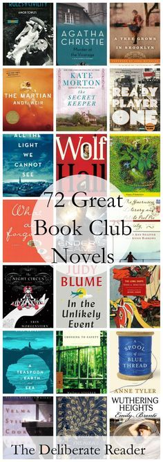 72 Great Book Club Novels for Fantastic Discussions. Part of Booked {Reading Together}, a month-long series about book clubs.