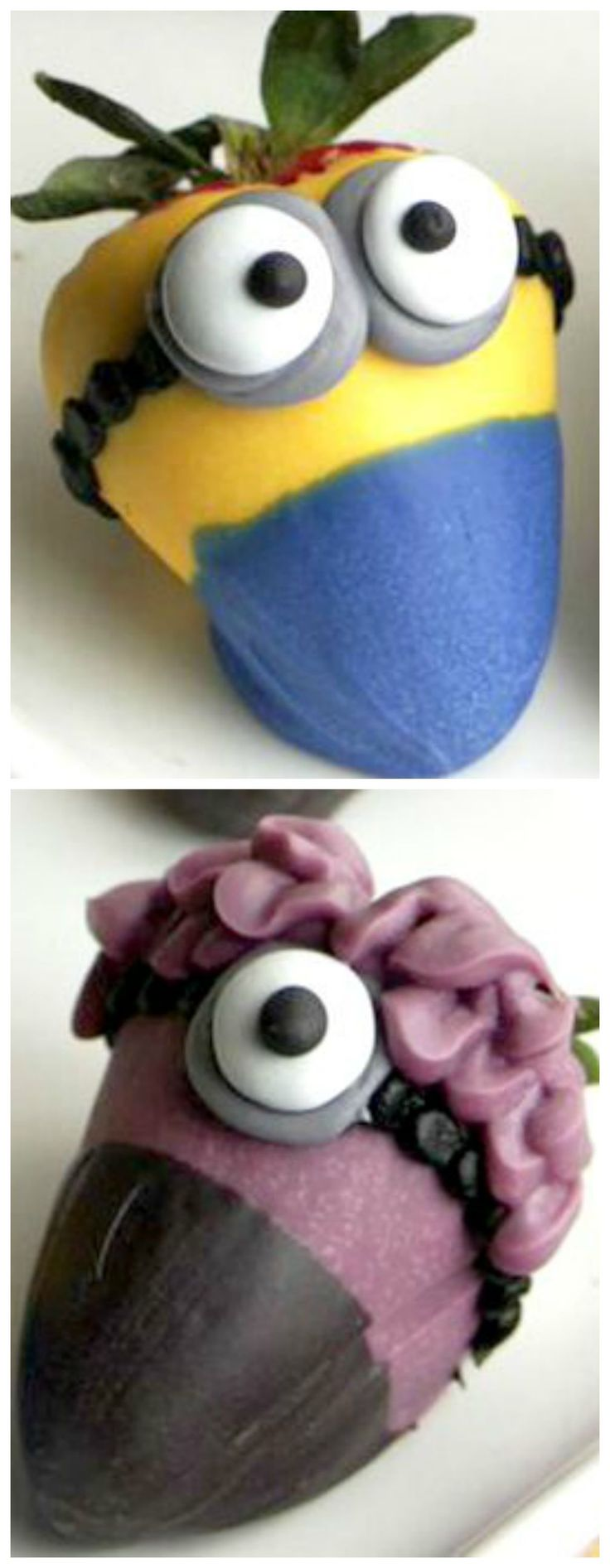 How to Make Minion Strawberries ~ These cute little strawberry characters are so adorable... Perfect for a Minion Themed Party!