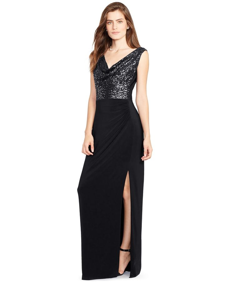 Lauren Ralph Lauren Sequined Cowl-Neck Gown - Dresses - Women - Macy\u0027s