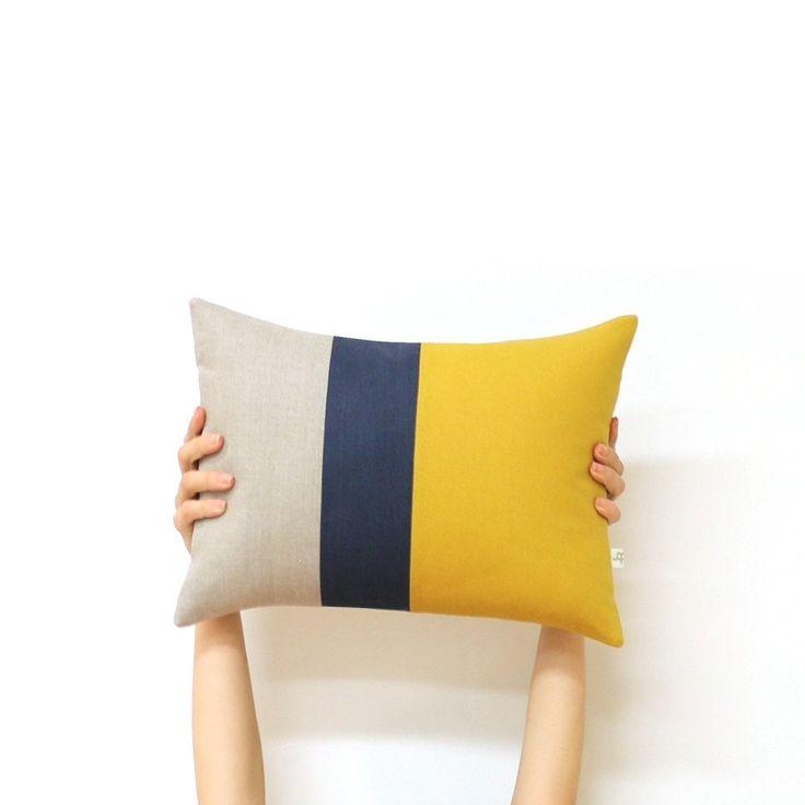 Colorblock pillow mustard navy natural beautiful - Navy blue living room color scheme ...