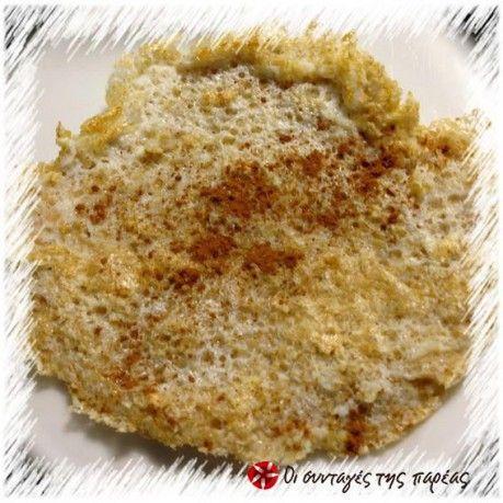 2 κουταλιές της σούπας βρώμη (QUAKER) 1 κουταλιά της σούπας ζαχαρίνη Ασπράδια από 2 αβγά Λίγη έως μπόλικη κανέλα (για τους πιστούς της) 1/2 κουταλιά της σούπας καλαμποκέλαιο για το τηγάνισμα