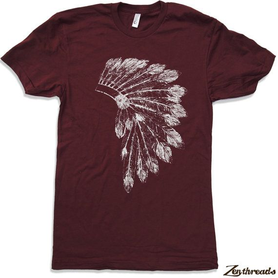 Mens Native American HEADDRESS american apparel t shirt S M L XL (17 Color Options) on Etsy, $18.00