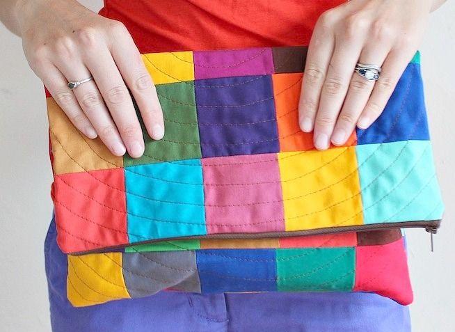 DIY: colorful patchwork clutch