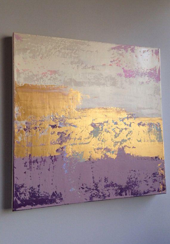 Couple Méditation Abstract Pastel Painting 24x24 Gold by JenniferFlanniganart, $250.00