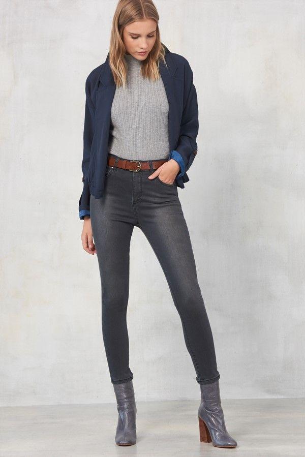 Grey Yüksek Bel Skinny Jean MLWAW17LH6928 TRENDYOLMİLLA | Trendyol