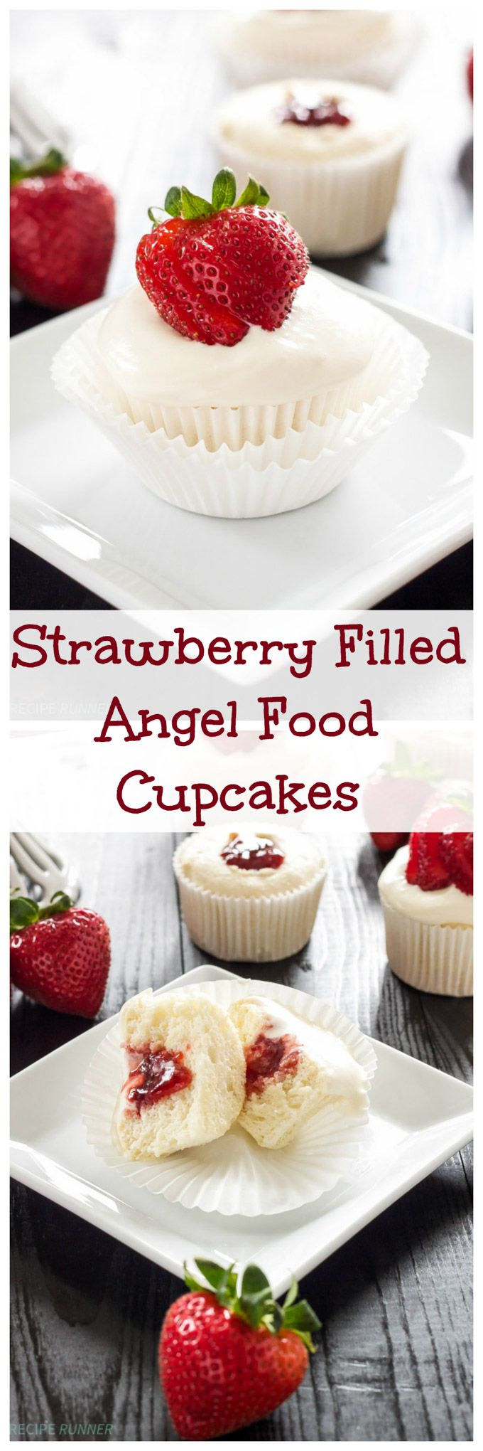 Strawberry Filled Angel Food Cupcakes | Angel food cupcake filled with strawberry jam, topped with whipped cream frosting & a strawberry!
