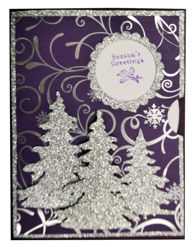 Purple and Silver Christmas Tree Card