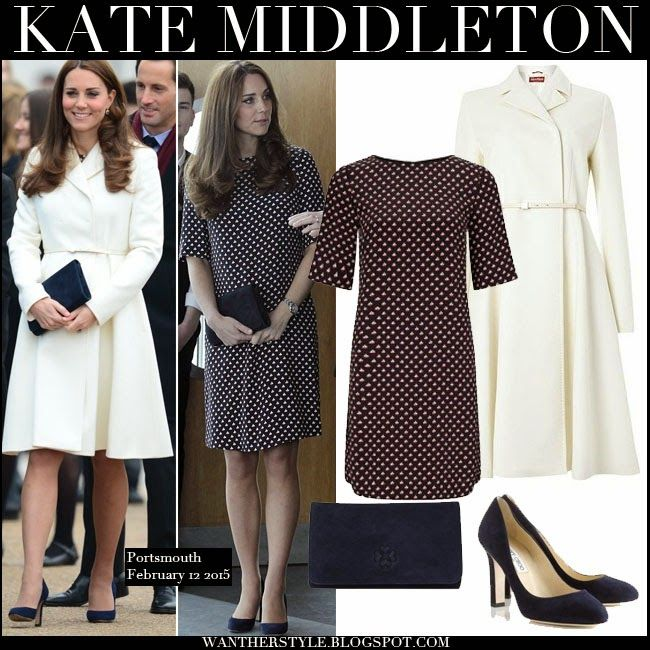 Kate Middleton in cream belted coat, boat print shift dress with blue suede clutch and blue suede pumps