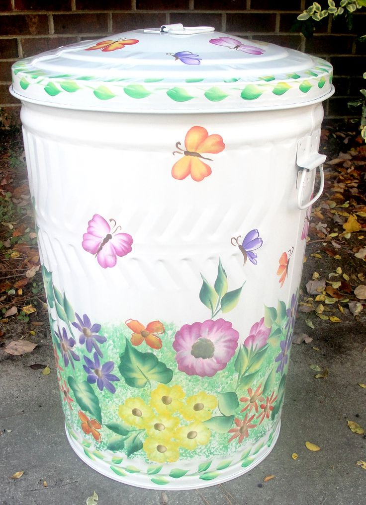 Painted Butterflies Metal Trash Can - 10, 20, & 30 Gallon - Free Shipping!
