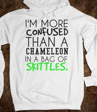 Confused Chameleon with Skittles Hoodie Sweatshirt