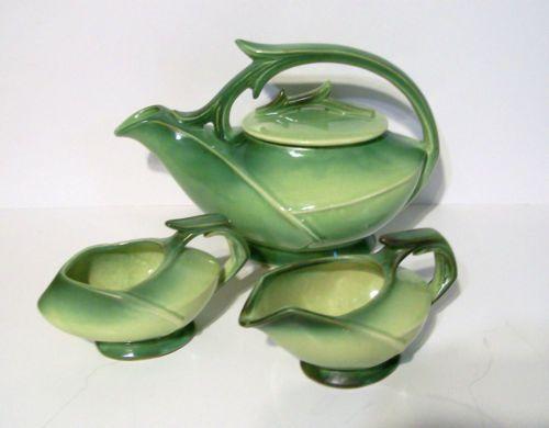 McCoy Pottery Two Tone Green Tea Set Vintage 50'S | eBay