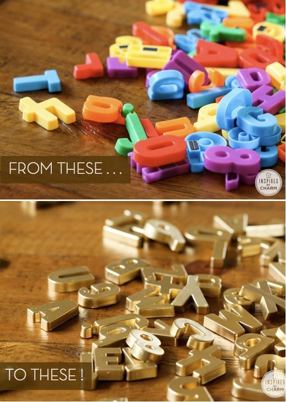 Spray Paint Magnetic Letters to have a chic look. Add a vintage frame to a magnetic board & throw these on.