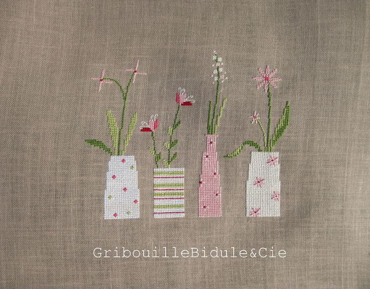 ❤︎  vases of flowers  -  appliqué and embroidery  -  gribouillebidule.canalblog.com