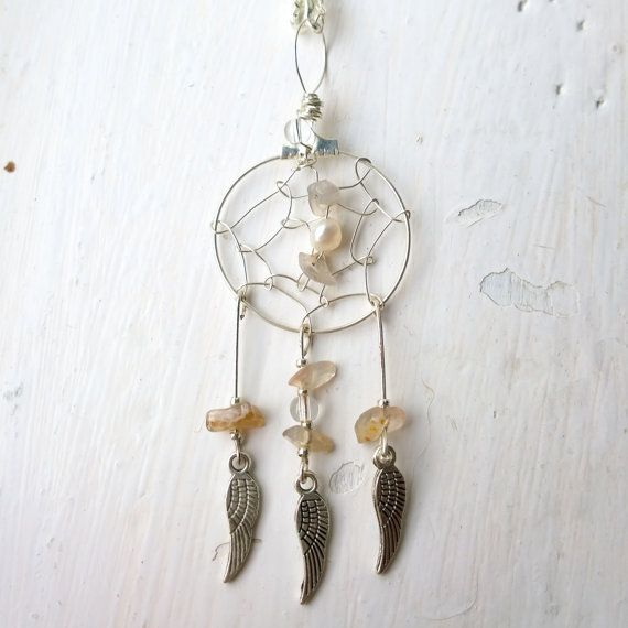 Silver Dreamcatcher Necklace with Quartz Gemstones and Silver Feather Charms.  ♥ In Native American culture it is believed that a dream catcher