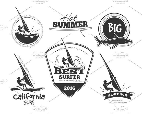 Retro surf emblems and labels set Graphics Retro surf emblems and labels set. Vector illustration. Archive contains JPG and EPS files. by Microvector