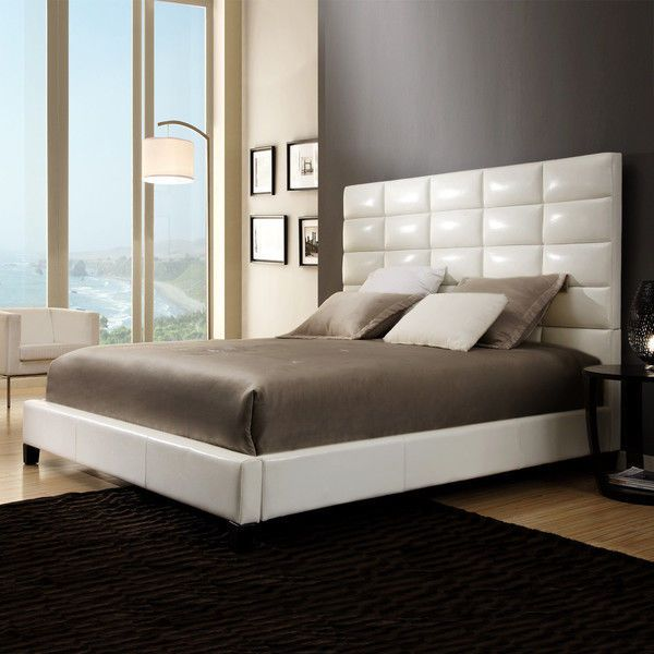 White Upholstered Panel Bed Queen Size Faux Leather Headboard Modern Style Beds Bedroom Decor Pinterest And Furniture