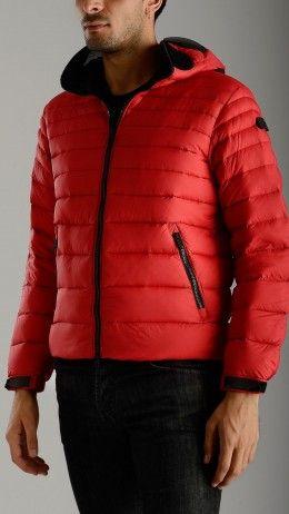 Zip up red down jacket