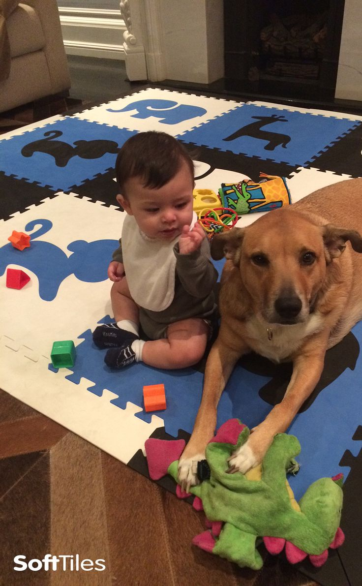 Best friends playing on a SoftTiles Safari Animals Play Mat in Black, Blue, and White. Soft Foam Mats create cushioned play areas on hardwood floors.