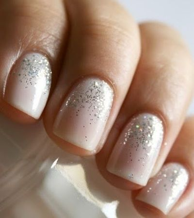 A French manicure with a shimmering difference