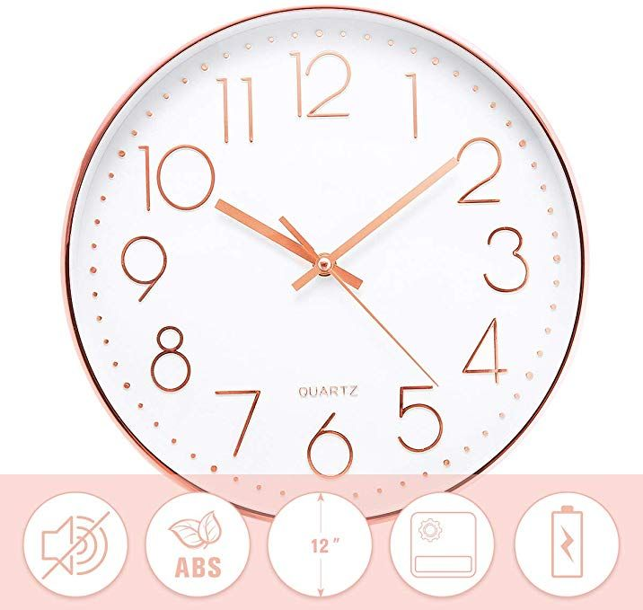 Jeteven 12 Rose Gold Wall Clock Non Ticking Glow Silent Wall Clock Battery Operated Quartz Round For In Gold Wall Clock Wall Clock Indoor Outdoor Living Room