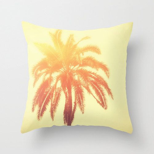 Pillow Cover, Beach Style Surf Decor Yellow Orange Red Palm Tree Throw Pillow, Home Interiors Accent, Bed Couch Living 16x16 18x18 20x20
