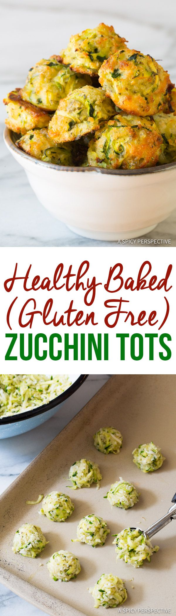 6-Ingredient Healthy Baked Zucchini Tots (Gluten Free!) | ASpicyPerspective.com - I do a similar version baked in a tray and cut into thin slices. I can totally see this going down well as a party treat! Martina@stayathomestraggler