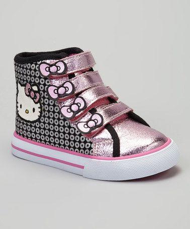Black & Pink Metallic Hello Kitty Hi-Top Sneaker by Hello Kitty on #zulily