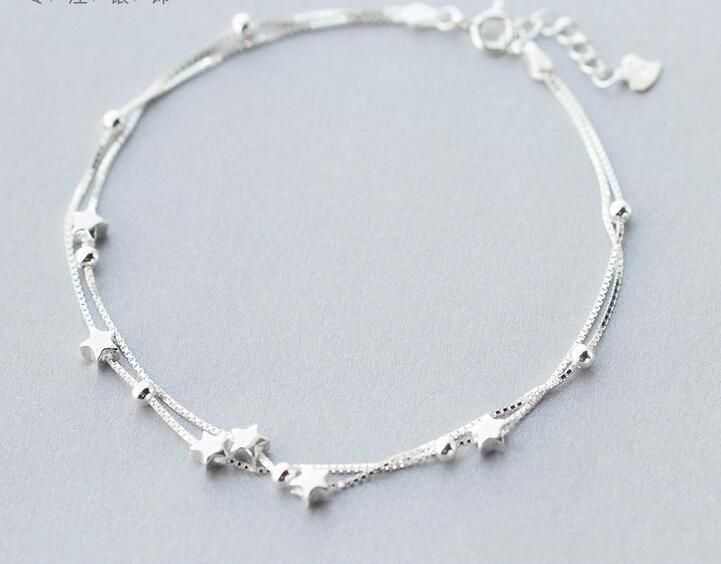 [Visit to Buy] 1pc 925 Sterling silver jewelry 2layers multi-Rows lUCKY Beads & Star Anklet bracelet Long LS275 #Advertisement