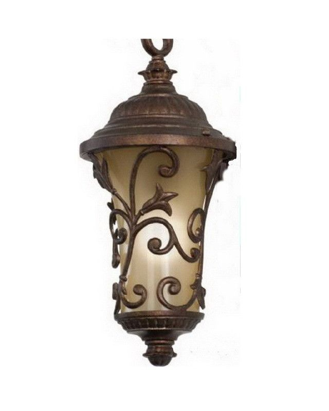 Kalco Lighting 9295 BBPL One Light Energy Efficient Fluorescent Outdoor Exterior Hanging Lantern in Burnished Bronze Finish