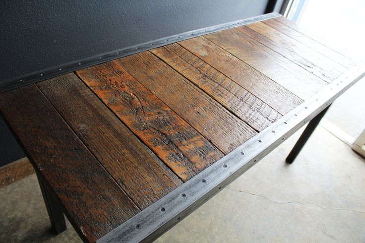 """Custom 22""""x44"""" Industrial Dining Table with raw steel trim and Hammered steel Rectangular legs rustic primitive oak bench stump wood raw live edge end coffee nightstand reclaimed seat tree stool slab salvaged modern ipod dining chair spalted barnwood small large industrial furniture timber natural cedar desk old growth urban metal steel computer iron barn"""