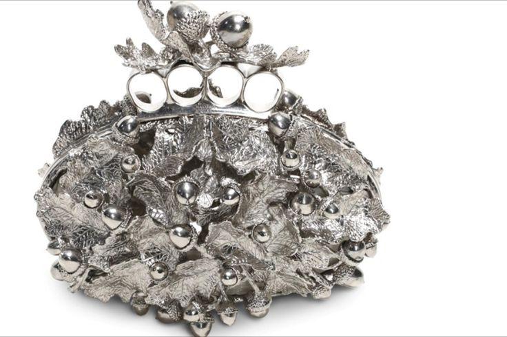 Alexander McQueen metal acorn clutch