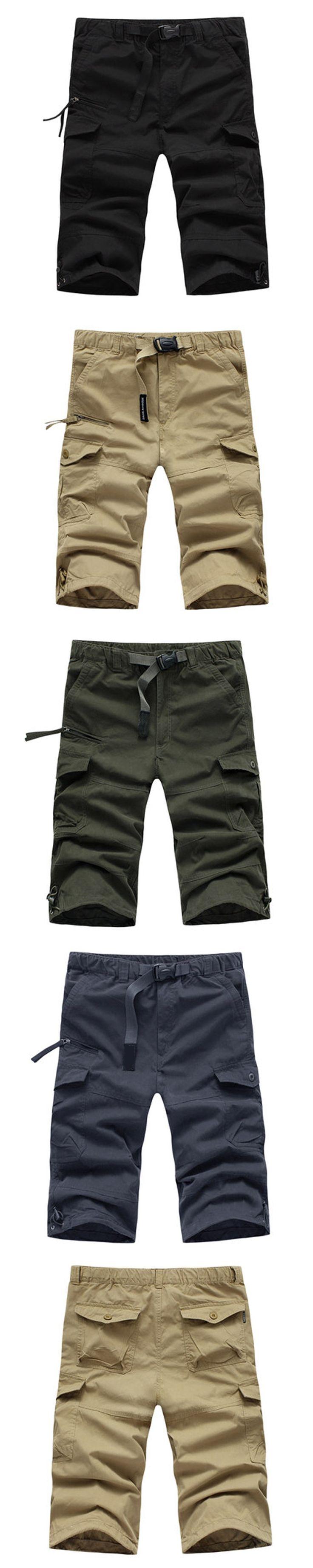 Baggy Size M-3XL Blue Green Multi-pocket Hip pop Black Military Army Combat Khaki Men's Cargo Shorts Cotton