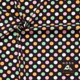 Pastel Polka Dots on graphite background: Pink/ Light Orange/ Mint Green/ Natural