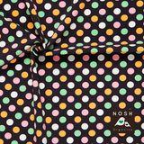 Pastel Polka Dots on graphite background: Pink/ Light Orange/ Mint Green/ Natural