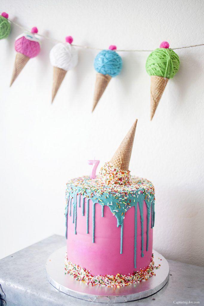 Upside down ice cream cone birthday cake