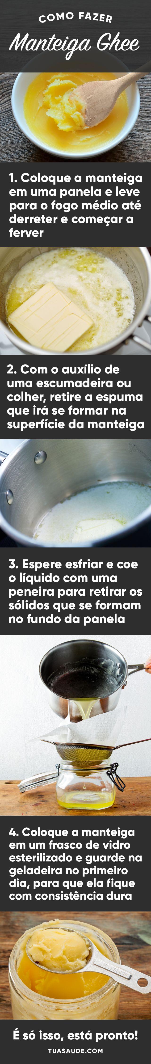 A manteiga Ghee, também conhecida como manteiga clarificada, não contem sal nem lactose, não estraga com temperaturas elevadas, por isso é uma boa gordura para cozinhar e não precisar ser guardada na geladeira.