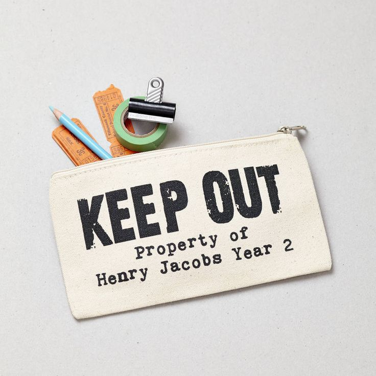Personalised Keep Out Pencil Case. A personalised pencil case for those individuals who do not want others stealing their pens and pencils!